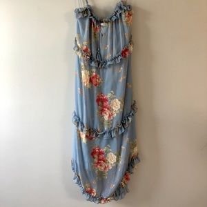 Light blue floral dress with beaded ties